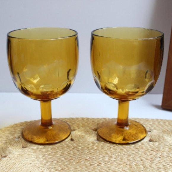 Mid Century Amber Goblets, Set Of 2 Glasses